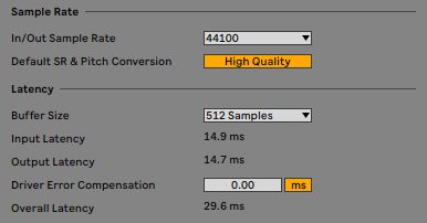 Ableton CPU buffer size and sample rate selection menu