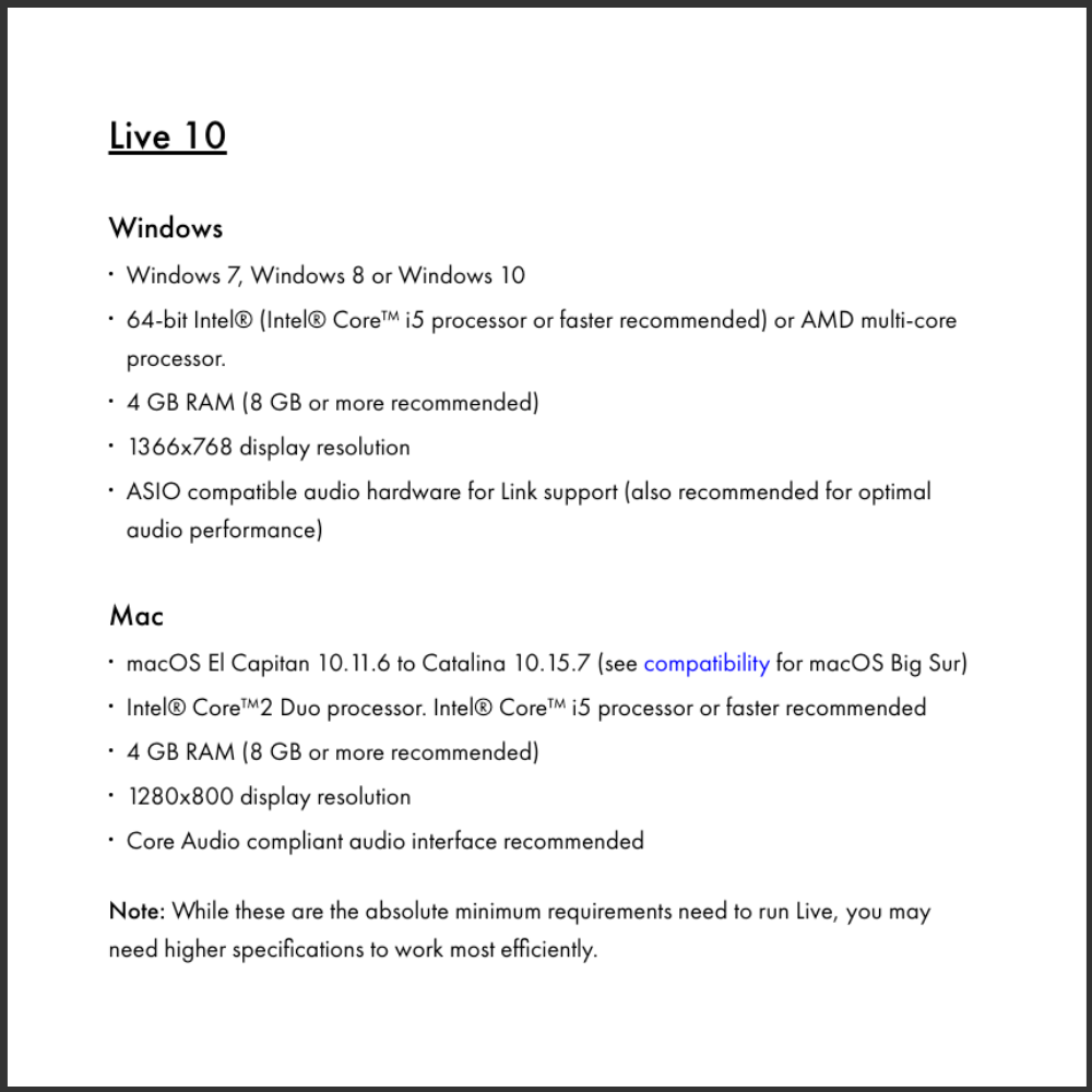 Ableton 10 system CPU requirements for mac and windows