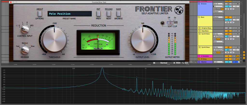 Free limiter plugin Frontiers results on the sine wave test
