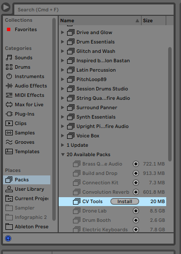 Where to find Ableton CV Tools in the Live Browser