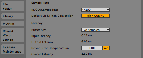 Ableton's latency and sample rate settings.