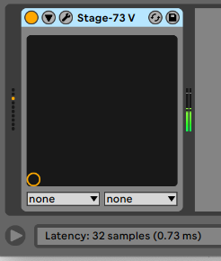 Ableton shows the total latency in ms in the bottom right corner when hovering over a device title bar.